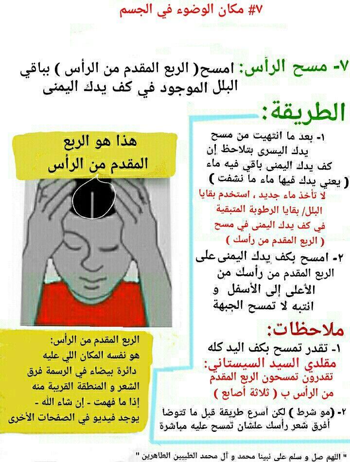 ٧ مسح الربع المقدم من الرأس مكان الوضوء في الجسم Memes Playbill Ecard Meme