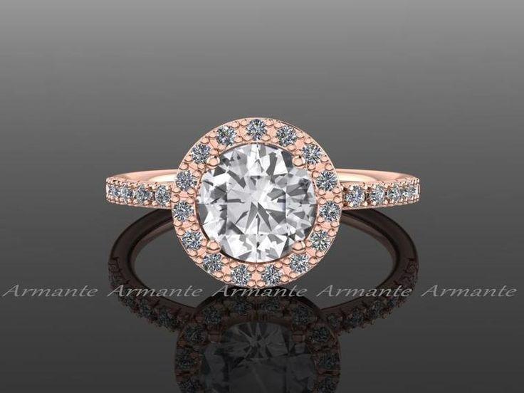 White Gold Cushion Cut White Sapphire Engagement Ring