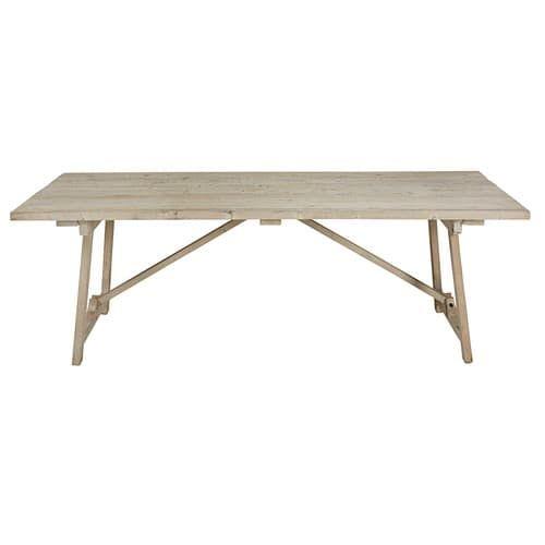 Table de salle à manger en pin blanchi L.240cm