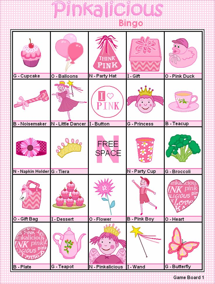 FREE Printable Pinkalicious Bingo - Games at Kid Scraps. This is SO cute!  I also printed out the calling cards to use as a concentration game - printed 2 of each card I wanted to use.  Unbelievably cute!!
