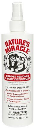 Nature's Miracle Dander Remover & Coat Deodorizer - pump spray deodorizer that sprays on fragrance and rids your pet of unwanted dander. Easy to use, non-toxic, with a lasting citrus smell. Perfect for dogs with allergies and dander.