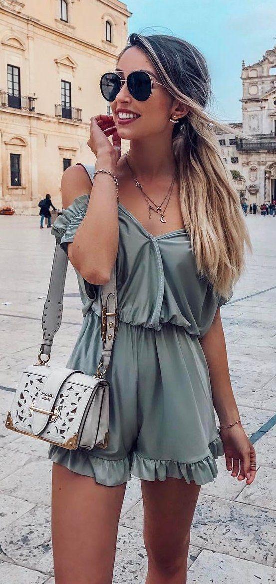 #summer #outfits Khaki Off The Shoulder Romper White Leather Shoulder Bag