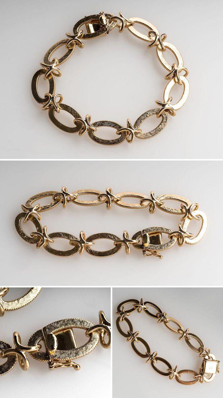 Textured Oval Fancy Link Bracelet 7.5-Inch 14K Gold | Most ...