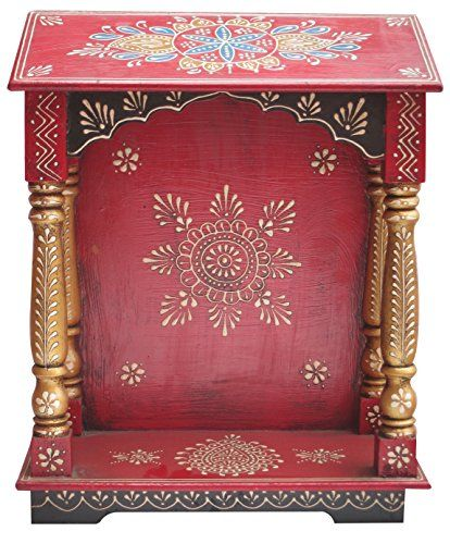Indian Auspicious Wood Temple Made With Traditional And A