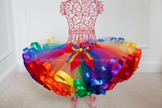 Rainbow Ribbon Trim Tutu By Halotutus On Etsy 35 00 Link