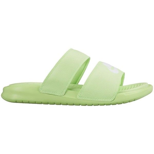 Nike Benassi Duo Ultra Women's Slide Sandals ($35) ❤ liked on Polyvore featuring shoes, sandals, ghost green, slip on shoes, green shoes, strappy sandals, open toe sandals and nike footwear