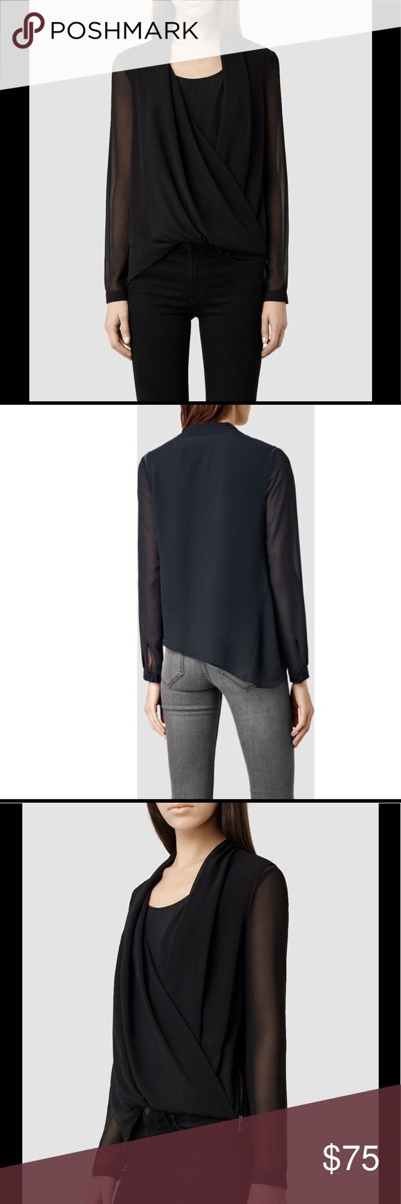 All Saints Abi silk top US 2 This is the gorgeous Allsaints Abi Sleeve top. 100% silk Update your luxe separates with this chic wrap top from AllSaints.   This dual layer piece is designed with a inner cotton top with an outer draped layer complete with three quarter length sleeves. Effortlessly classy, and easy to build to outfit around, team with skinny fit trousers and courts for sleek 9-5 outfitting. All Saints Tops Crop Tops