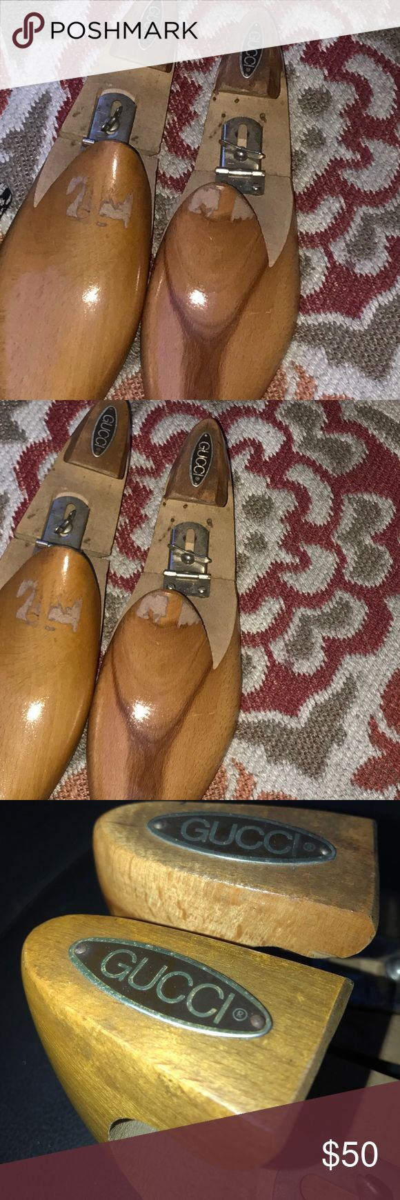 Vintage Gucci authentic wooden shoe stretchers For a men's size 12 & up  90s GUCCI Mens Wooden Shoe Trees One Pair  Adjustable Hardwood Shoe Trees Size 12 D Stretchers Forms Vintage apx 3.5 Width first photo is a stock photo some knicks in wood Preloved priced accordingly Gucci Shoes