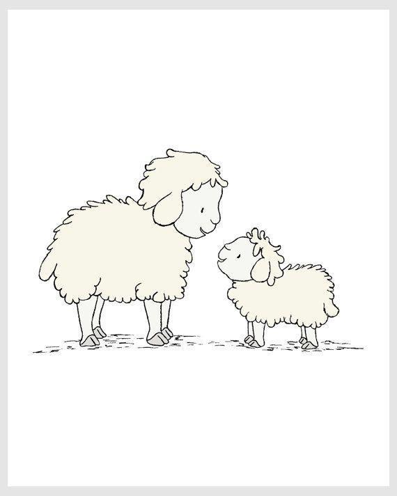 Lamb Nursery Art My Little Lamb Sheep Mama by SweetMelodyDesigns