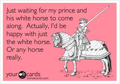 Just waiting for my prince and his white horse to come along. Actually, I'd be happy with just the white horse. Or any horse really.