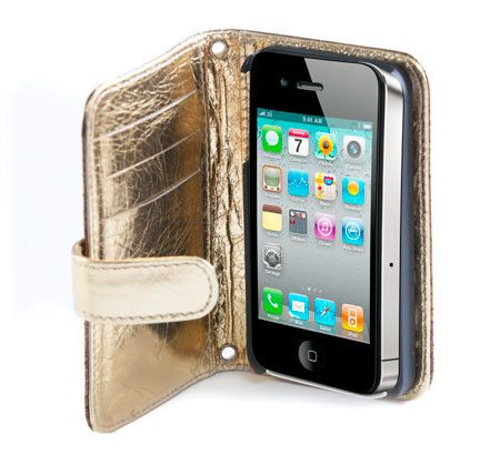 AZTEC  Handmade luxury bronze leather phone case with gold flap can be customised to fit any Iphone.