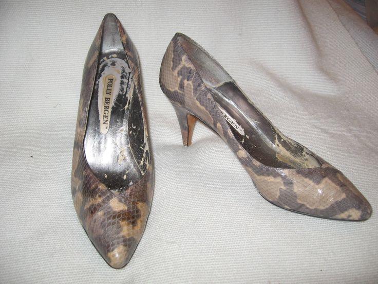 Vintage 1950's / 1960's Authentic Snakeskin Women's Heels Polly Bergen Size 7-71/2 by EleanorasAttic on Etsy