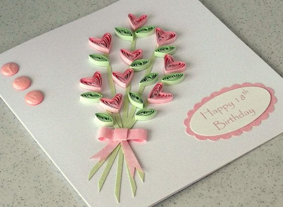 Handmade card, quilled flowers, quilling greeting