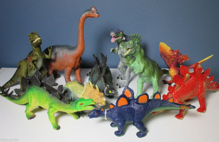 "Lot of 10 Large Plastic Dinosaurs Toy Assorted Variety Trex 8-12"" Dinosaur Set"
