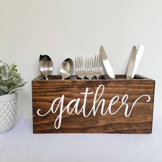 wooden gather silverware caddy wood by HoneysuckleAndPine on Etsy