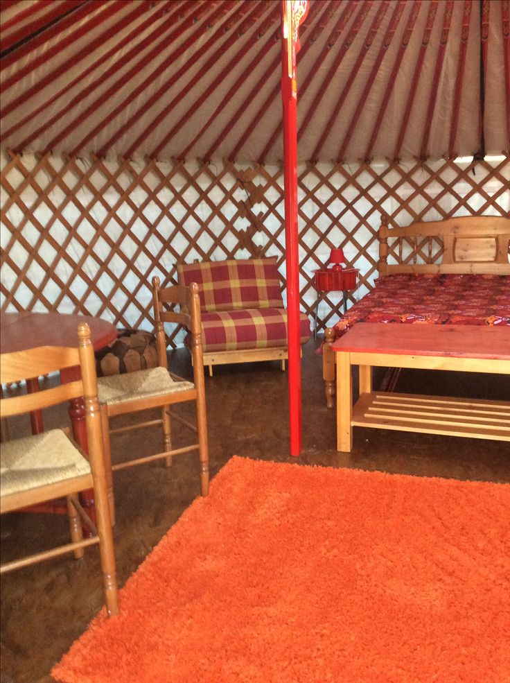 A view inside the yurt