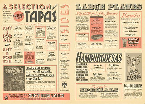 Cuban Food & Drinks Menu Design. Newspaper Menu Graphic Design, Vintage Retro Designs by www.diagramdesign.co.uk