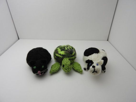 CUSTOM ORDER: Winnie Duncan. Hand knitted Sea Turtle, Cat & Dog, Pin Cushion Critters, Desk Toys #OOAK