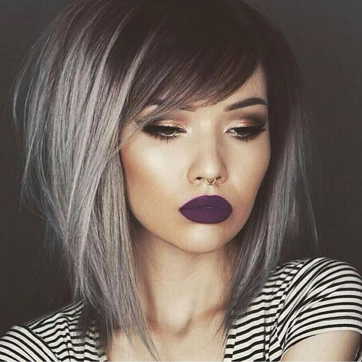 """Sexy silver hair with shadow root and messy style by @tiasymonee Model @jessjanemakeup  #hotonbeauty"""