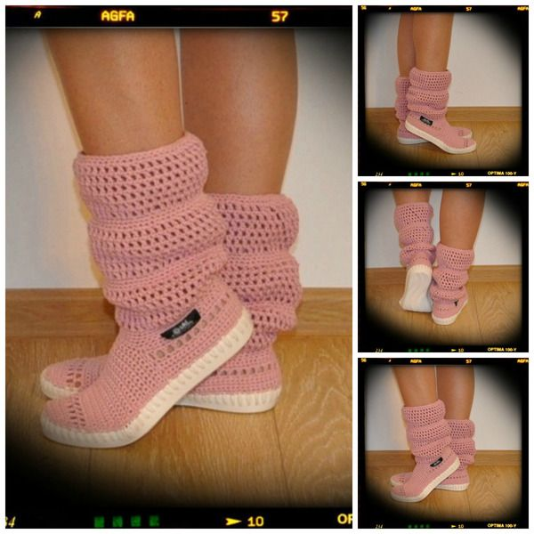 Crochet boots summer -cotton 100%-pink from uki-crafts by DaWanda.com