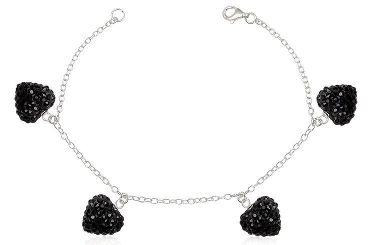 Bratara din argint 925 cu inimioare cu cristale negre. Comanda online pe: http://www.lafemmecoquette.ro/bratara-din-argint-cu-inimi-din-cristale-negre/