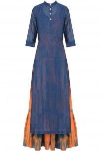 Navy Plain Kurta with Orange Tie and Dye Tiered Dress #Navy #kurta #orangepop…