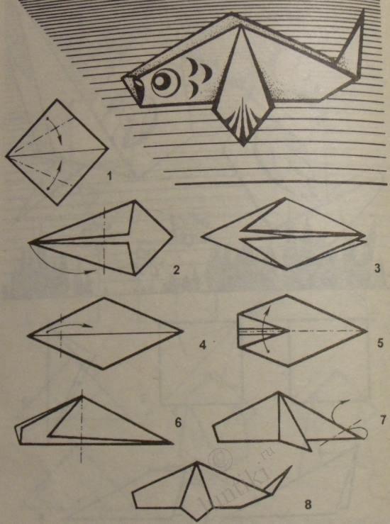 Оригами для детей - Рыбы