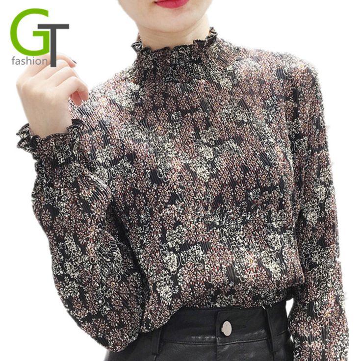 2017 Autumn Fashion Ruffled Neck Chiffon Blouses Loose Women Chiffon Elastic Blouse Floral Print Shirt Women Pleated Tops Blusas