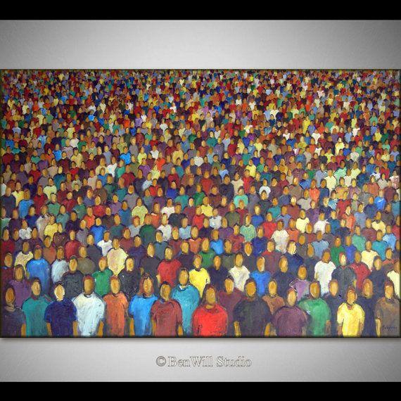 ÉNORME abstraite peinture ORIGINAL Art moderne colorée de la peinture contemporaine grand Pop Art - Faces in the CROWD 60 x 40 par xomeggeox...