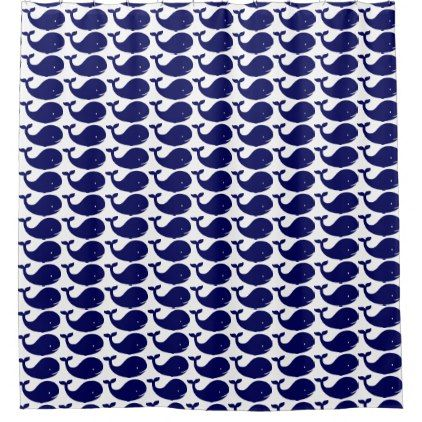 hipster shower curtain beach navy whale pattern - shower gifts diy customize creative