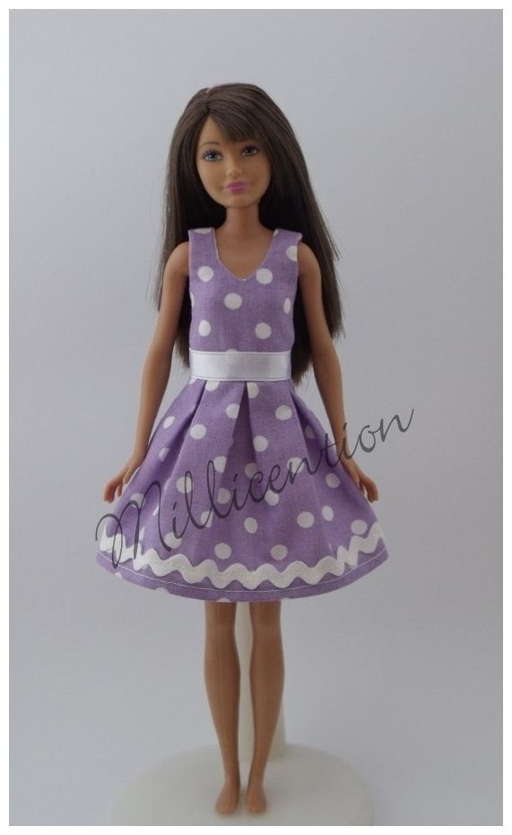 Lilac-white polka dot Skipper doll dress