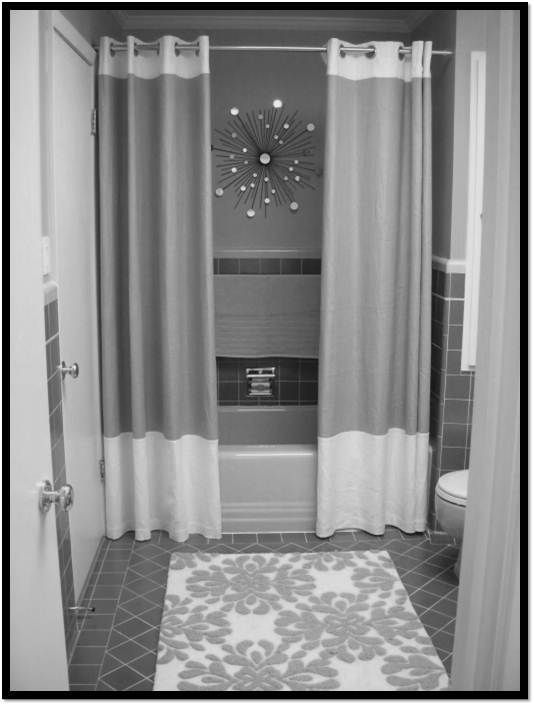 Two Panel Shower Curtains Add A Luxurious Touch While The Floor To Ceiling Installation Gives Height And Makes Bathroom Appear Larger