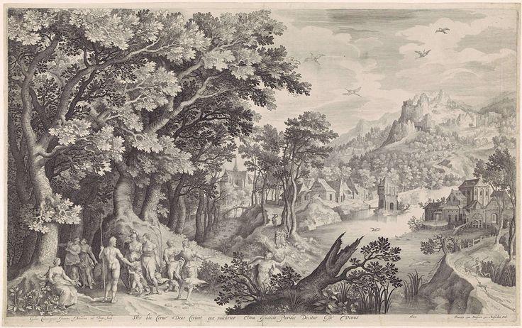 Nicolaes de Bruyn | Oordeel van Paris, Nicolaes de Bruyn, Francoys van Beusekom, 1600 | Een landschap met op de voorgrond links het oordeel van Paris. Mercurius heeft Paris naar de goden gebracht om een schoonheidswedstrijd tussen godinnen te beslechten. Hij moet kiezen wie het mooiste is: Juno (met als attribuut de pauw), Minerva (in wapenrusting) of Venus (met naast haar Cupido). Paris kiest voor Venus en overhandigt haar als prijs een gouden appel. Op de achtergrond een dorp naar een…