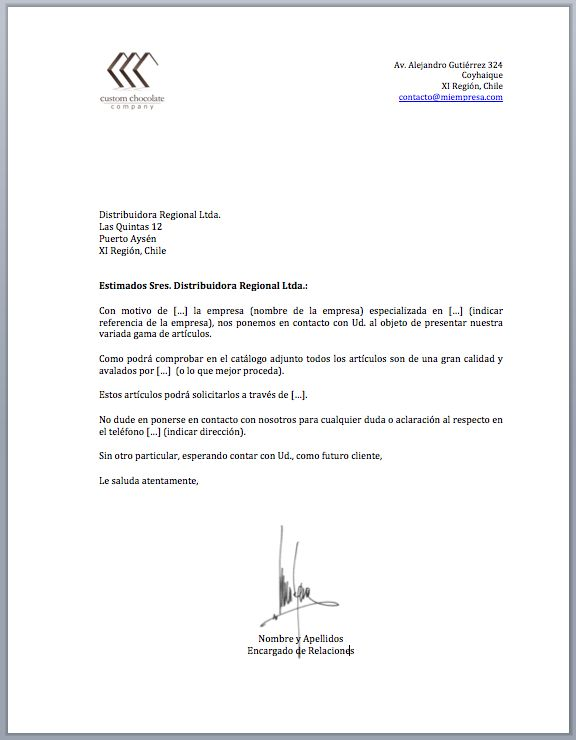 carta de negocios