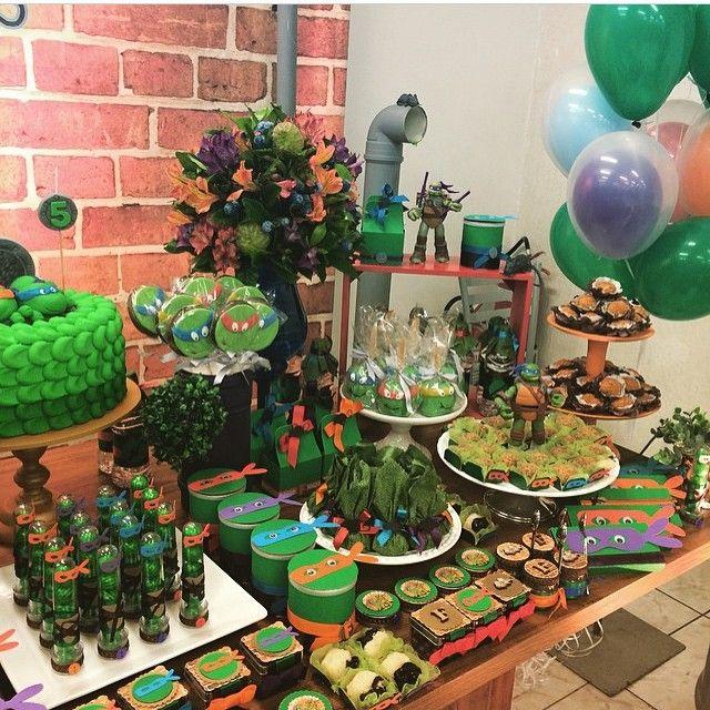Ninja turtle bday themed  festa tartaruga ninja (depois q vi essa festa ontem ja…