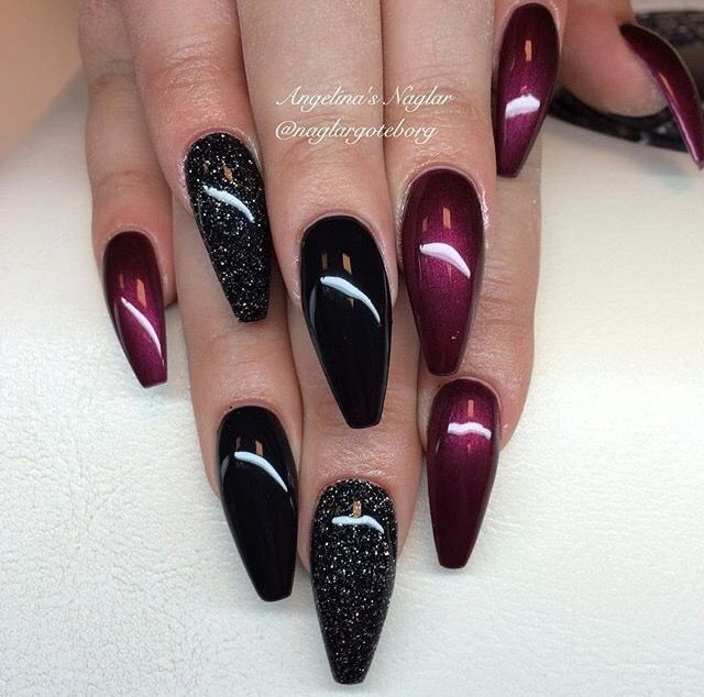 I like the color not the shape or length. | Maroon nails ...