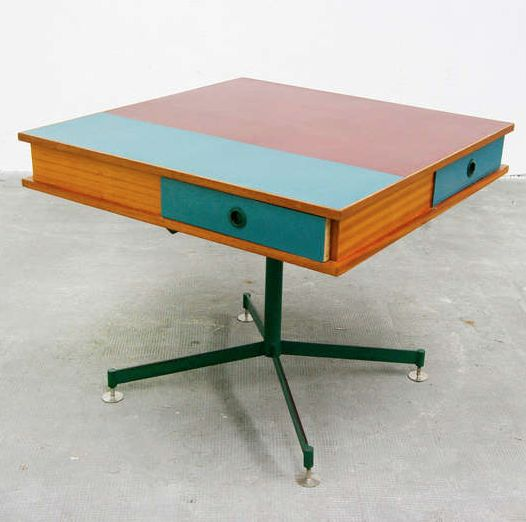 Anonymous; Formica, Wood and Enameled Steel Occasional Table, 1950s.
