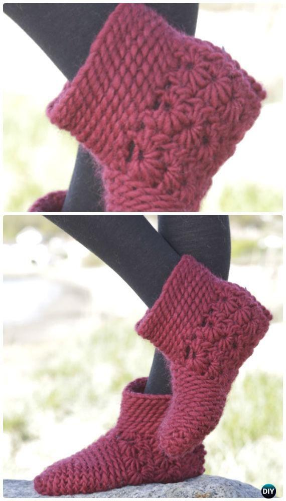 Crochet Chassé Star Stitch Slippers Free Pattern - #Crochet Women Slippers Free Patterns