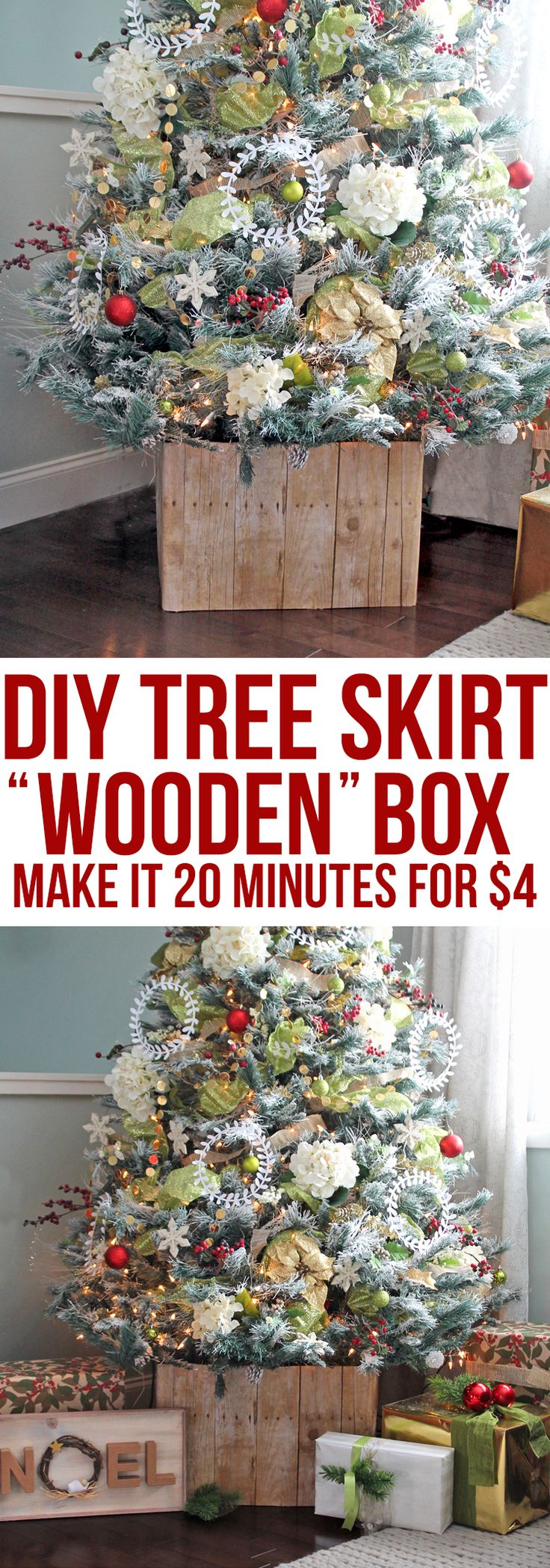 Make this rustic barnwood style Christmas tree collar with no special tools. It's not made of wood! Super easy to do and only cost about $4. #ChristmasTree #treeskirt #christmastreedecor #christmas