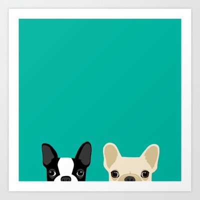 Boston Terrier & French Bulldog 2 Art Print by Anne Was Here - $15.50 @kadyandjoez
