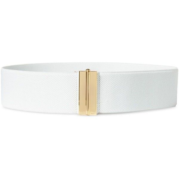 Lauren Ralph Lauren Interlock Stretch Belt ($38) ❤ liked on Polyvore featuring accessories, belts, white, stretchy belts, fat belt, white belt, white stretchy belt and thick white belt