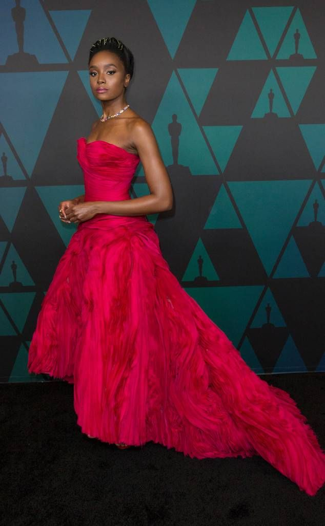 Kiki Layne From 2018 Governors Awards See The Stars Red Carpet Fashion The If Beale Street Could Talk Act Red Carpet Fashion Fashion Cocktail Evening Dresses