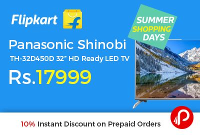 "Flipkart #Summer #ShoppingDays is offering 35% off on Panasonic Shinobi TH-32D450D 32"" HD Ready LED TV at Rs.17999 Only. 10 W x 2 Speaker Output, 200 Hz Refresh Rate, IPS Screen, 1 Yr Manufacturer Warranty, Upto ₹8,000 off on exchange.  http://www.paisebachaoindia.com/panasonic-shinobi-th-32d450d-32-hd-ready-led-tv-at-rs-17999-only-flipkart/"