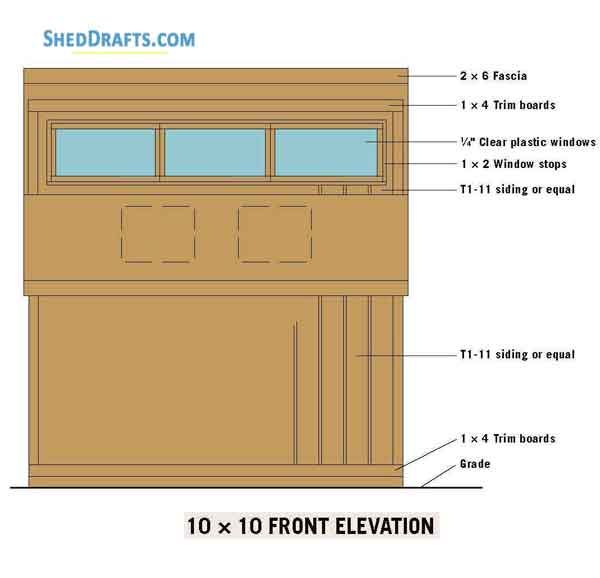 10x10 Clerestory Shed Plans Blueprints 02 Front Elevations Shed Plans Wood Shed Plans Diy Shed Plans