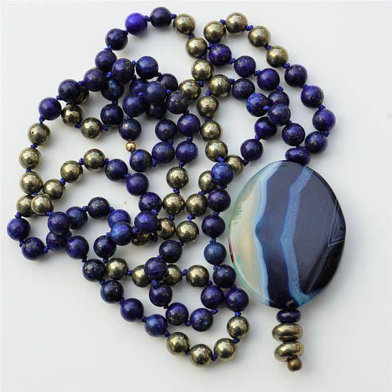 Lapis and Pyrite Mala Necklace Lapis Mala Wellness Jewelry
