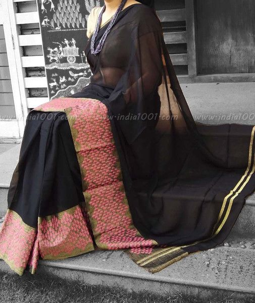 Stunning Pure Georgette Saree with Embroidered borders