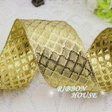 ( 2 м/лот ) 40 мм золотой полиэстер ленты упаковка лента высокая - оценка качества квадраты лента оптовая продажа(China (Mainland))
