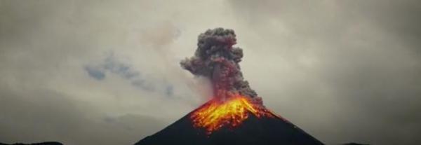 A British photographer captured time-lapse video of Ecuador's Reventador volcano spewing lava and ash.