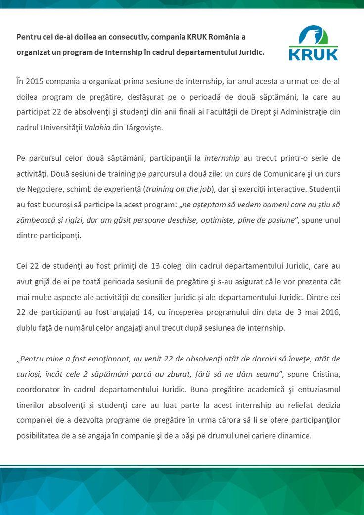 Internship la KRUK Romania http://ro.kruk.eu/