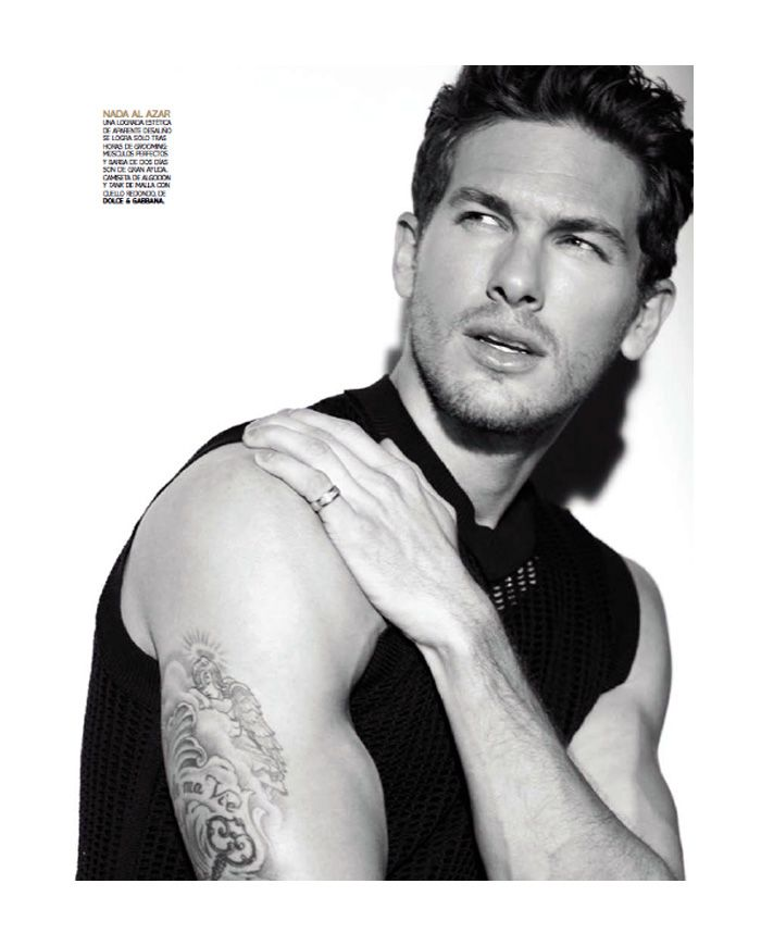 The Ulti­mate Icon–Clad in a Dolce & Gab­bana wardrobe, Wil­helmina model Adam Senn graces the pages of the spring/​summer 2012 issue of Vogue Hom­bre. Pho­tog­ra­pher Stephanie Pfrien­der Sty­lan­der and styl­ist Erin Walsh col­lab­o­rate to cre­ate pow­er­ful, mas­cu­line and seduc­tive images, fea­tur­ing the Texan model.